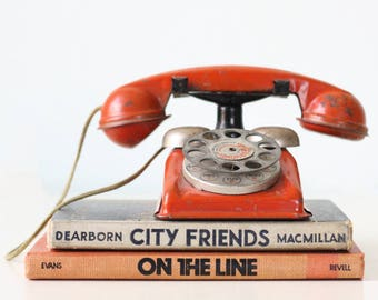 Vintage Orange Phone, Toy Rotary Telephone, Speed Phone, Gong Bell Company