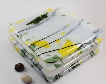 Handmade Glass Coaster Set #1, Set of Four, Streaky Fused Glass