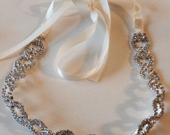 Rhinestone Bridal Headpiece, headband, wedding headpiece, wedding headband, bridal headband, bridal headpiece, hair accessories, sash, belt
