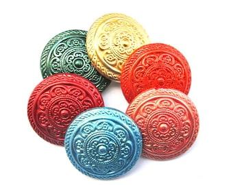 6 Vintage plastic buttons flower design hand painted 6 colors 30mm