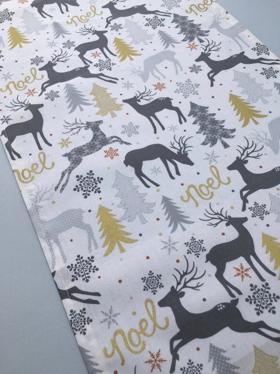Holiday Table Runner Gold Silver Gray and White Christmas