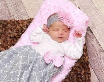 Baby girl clothes, Baby layette pink, coming home outfit, Newborn girl clothes, Newborn headband, Baby girl, Newborn outfit Layette gown,