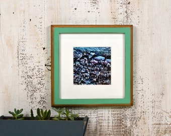 8x8 Square Picture Frame in 1x1 2-Tone Style with Vintage Robin's Egg Finish - In Stock Same Day Shipping - 8 x 8 Photo Frame Rustic Green