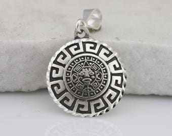 Silver Aztec Calendar Necklace, Sterling Silver Aztec Necklace,  Mayan Sun Calendar Pendant, Aztec Calendar Oxidized, Aztec Calendar Mexican