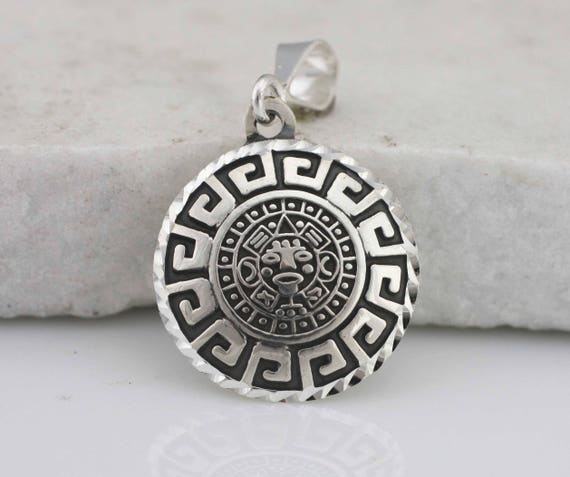 Silver aztec calendar necklace sterling silver aztec like this item aloadofball Images