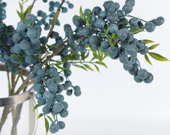 "Luxury Artificial Multi Berry Stem in Blue 35"" Tall"