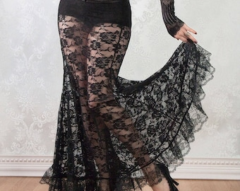 Black Lace Skirt | La Rose Gothique | Fit and Flare Skirt, Belly Dance Skirt, Floor Length Skirt, Floral Lace Skirt, Womens Mermaid Skirt