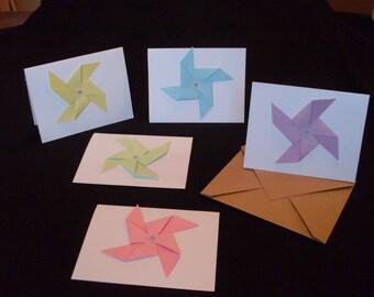 Handmade Pastel Pinwheel Invitation/Greeting Cards