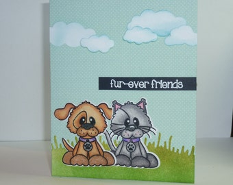 """Handmade Pink and Main Dog and Cat Fur-Ever Friends Greeting Card - 4 1/4"""" x 5 1/2"""""""