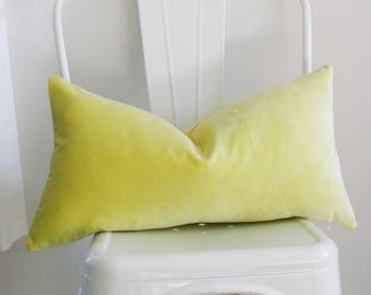 Citrine Velvet Pillow Cover - 11x21 inch - Schumacher Pillow - yellow green - citron velvet - ready to ship