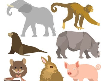 Wildlife Clipart, Animal Clipart, Elephant Clipart, Rabbit Clipart, Mouse Clipart, Monkey Clipart, Pig Clipart, Digital Download