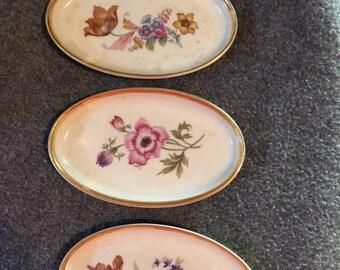 Denmark Porcelian butter plates 1970's gold rims set of 3