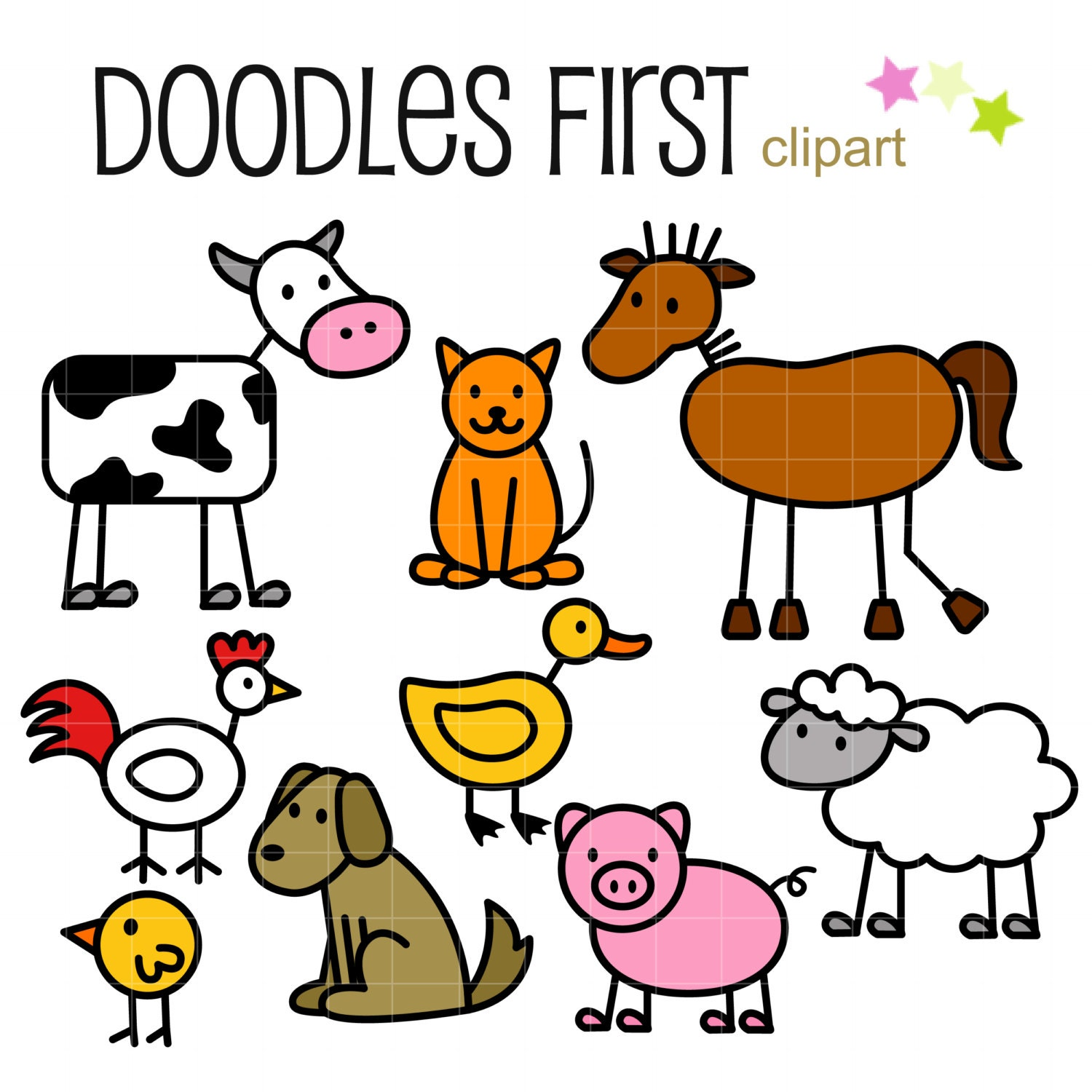 stick farm animals doodles digital clip art for scrapbooking rh etsy com farm animal clip art black and white farm animal clip art pictures