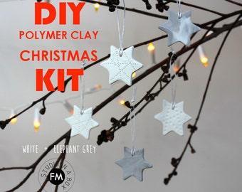 DIY CHRISTMAS KIT - Polymer Clay Stars - Star shape cutter - Homemade Star Decorations