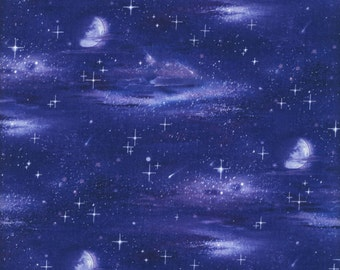 Sky, Moon, Stars - Elizabeth's Studio 430- ROYAL (sold by the 1/2 yard)