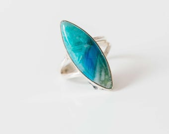 Rarity !! All Natural Andean Opal • Peruvian Blue Opal • solid sterling SILVER • Size 8
