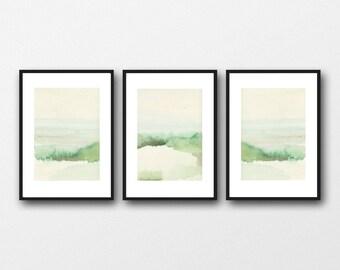 Watercolor prints landscape, Green Watercolor Landscape Paintings,  Set of 3 Prints, Landscape art prints