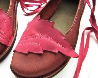 Size UK 8, Handmade Womens Leather Shoes, NEVERLAND, Chestnut, Wild Plum 2200 by Fairysteps