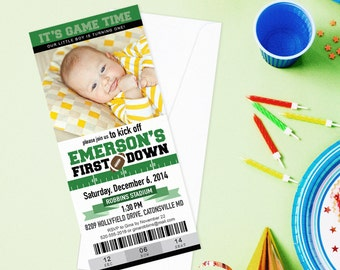 First Down Football Ticket Custom Photo Invite - Or Second Down, Third Down, or Fourth Down Kick Off Birthday Party Personalized Printable