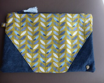 BI-material cotton and recycled denim pouch printed