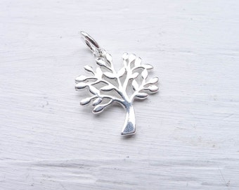 Tree Charm Sterling Silver Pendant for Jewelry Making (CHS7245)