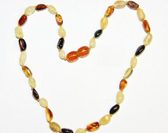 Multicolor olive beads Baltic amber teething necklace for your baby 4v