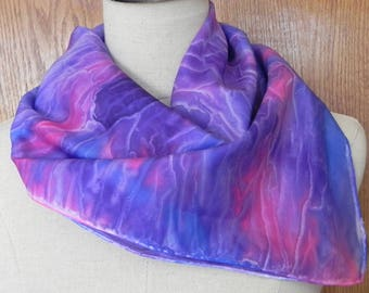 Abstract floral hand painted square silk scarf in shades of blue, purple and magenta is ready to ship, silk scarf #551