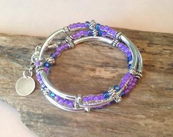 Wrap Bracelet, Silver Tube Wrap,Lavender, Silver Tube Bead Wrap Bracelet, 3X Wrap Tibetan Style Jewelry, Seed Bead Stack Wrap
