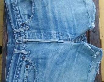 "Women Levis denim shorts cut offs black flag vintage waist 29"" inches"