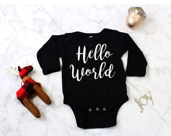 Hello World, Newborn Coming Home Outfit, Hello World Take Home Outfit, Hospital Coming Home Outfit, Winter Take Home Outfit, Baby's First