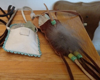 Two Small Leather Pouches With Calcite and Selenite Crystals Included
