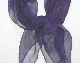 Purple Bandana Silk Scarf Hand Painted Handmade