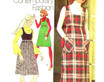 Sewing Pattern Vintage 1970s Maxi Jumper Dress, Scoop Neckline Misses Size 12 Bust 34 Simplicity 5137