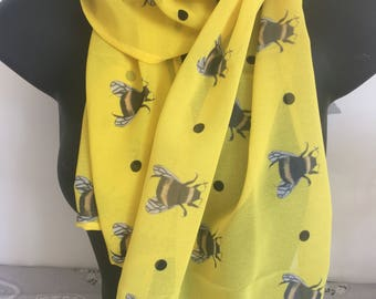 Bumble bee, bee scarf, chiffon, bees, for bee lovers, for scarf lovers, yellow scarf