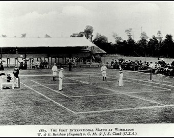 Art Print Wimbledon Tennis 1883,  First International Match Old Photographic Print 8 x 10