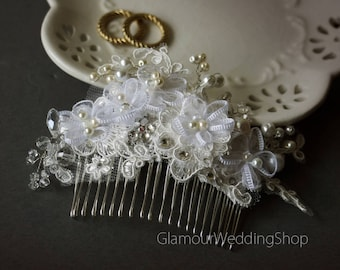 Wedding Hair comb White Bridal Lace Wedding Comb Wedding Lace Hair Comb Bridal Accessories