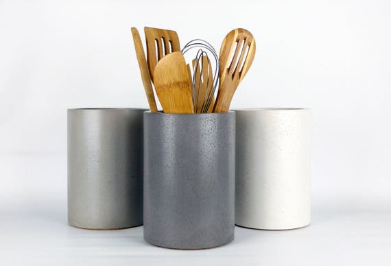 Kitchen utensil holder concrete utensil holder kitchen workwithnaturefo