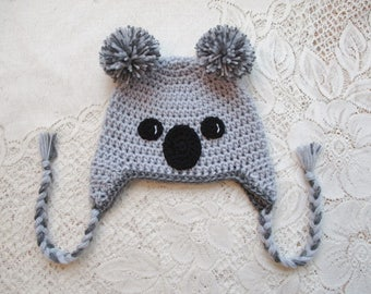 Koala Bear Crochet Hat - Winter Hat or Photo Prop - Available in Any Size or Color Combination