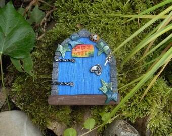 Blue Elf Door MAGIC fairy door, miniature silver key, bumble bee - Fairies portal polymer clay - PRIDE Garden Wooden Door for Gnomes, Elves