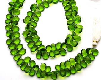 "Olive Green Peridot Color Hydro Quartz Facet 8x11MM Approx. Pear Shape Briolettes Beads 8"" Full Strand Super Fine Quality"