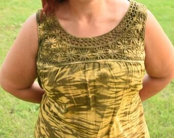 Gold und braun Tie Dye Ärmelloses Shirt-Größe groß-Damenbekleidung