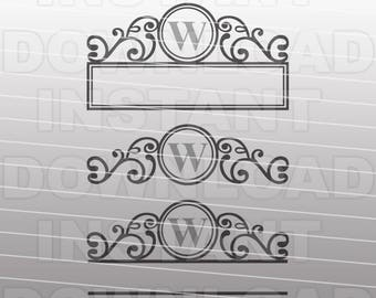 Fancy Ornate Mailbox Monogram Frame SVG File - Commercial & Personal Use - Vector Art for Cricut,Silhouette Cameo,HTV Iron On Decal