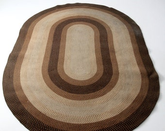 vintage braided area rug, brown oval wool rug