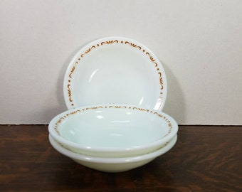 "Vintage Pyrex by Corning Copper Filigree 4 7/8"" Berry Bowl Set of (3) 708"