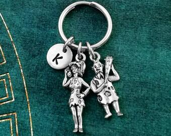 Cavewoman Keychain VERY SMALL Caveman Keychain Girlfriend Keychain Wife Keychain Husband Keychain Couples Keychain Boyfriend Keychain Gift