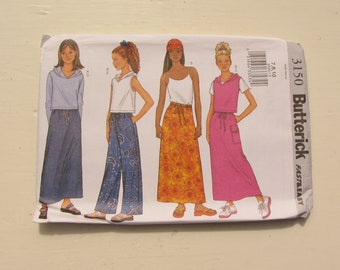 Butterick 3150 - Girl's Top, Skirt, Pants - Size 7-8-10 and 12-14-16 - Fast & Easy for Woven Fabrics - Uncut and Factory Folded - MSRP 9.95