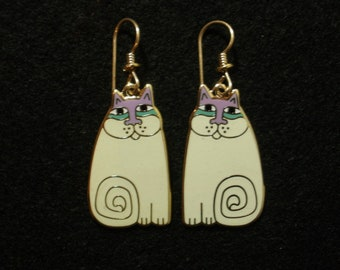 "LAUREL BURCH ""Olivia"" White Cat Earrings"