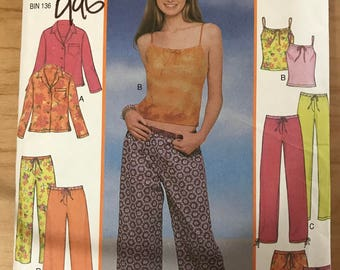 New Look 6060 - Juniors Cool Chemise Tank Top, Button Front Shirt, Pants, Capris, and Shorts - Size 3 3 4 5 6 7 8 9 10 11 12 13 14