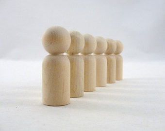 Wooden peg people, peg dad, unfinished DIY set of 6