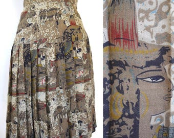 Vintage 80s does 60s Ancient Egypt Novelty Print High Waisted Pleated Secretary Skirt (size xxs, xs)